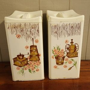 Vintage Ransburg Tin Metal Canisters Kitchen Decor